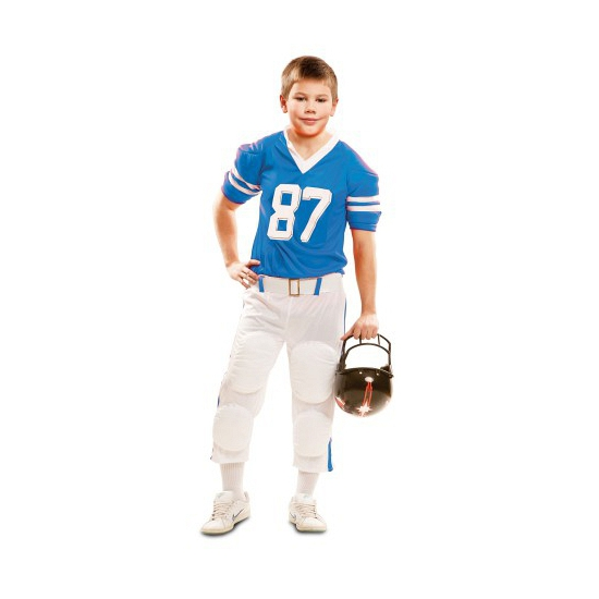 Rugby kostuum voor kinderen. stoere american football speler kostuum voor kids in de kleuren wit met blauw. ...