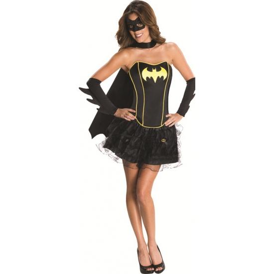 Luxe batgirl kostuum voor dames. zwart korset met gele randen en batman embleem op de borst. inclusief een ...