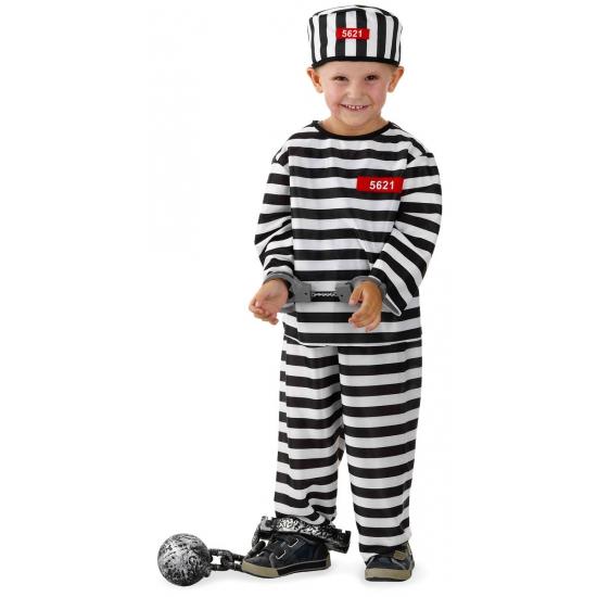 Gevangene kostuum voor jongens. 3 delig gevangene kostuum voor jongens bestaande uit een broek, shirt en ...