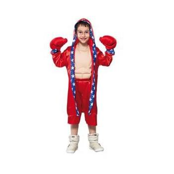 Voordelige bokser outfit voor kinderen. rood bokser kostuum inclusief jas, broek, handschoenen en spierballen ...