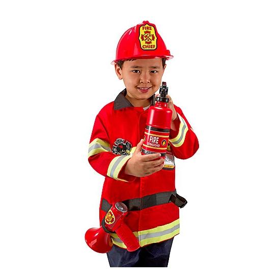 Complete brandweer outfit voor kinderen. dit gave brandweer set bestaat uit het wasbare jasje, de verstelbare ...