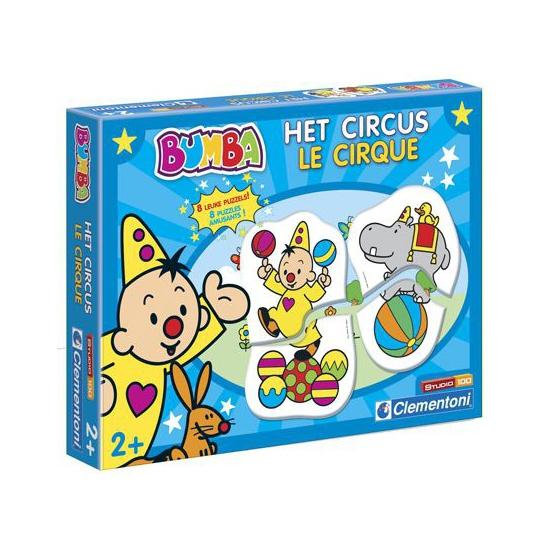 Bumba leerpuzzel het circus. 8 educatieve bumba puzzels van 2 stukjes met plaatjes van bumb...