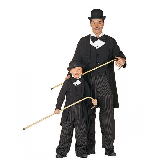 Charlie kostuum voor kinderen. dit charlie pak voor kids bestaat uit de krijtstreep broek met zwart jasje....