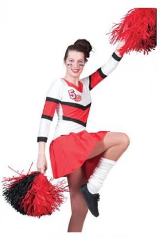 Cheerleader jurkje voor dames. rood met wit cheerleader kostuum voor dames. dit cheer kostuum bestaat uit het ...