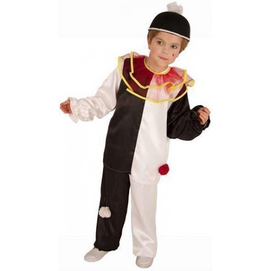 Pierrot clownspak voor kinderen. zwart met wit pierrot clown kostuum voor kinderen, inclusief broek, shirt en ...