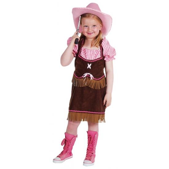 Cowgirl kostuum voor meisjes. luxe cowgirl kostuum in de kleur bruin met roze. het cowgirl kostuum is ...