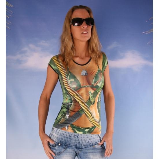 Dames t-shirt met leger print