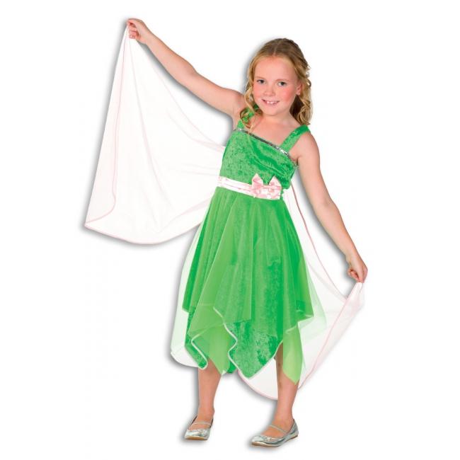 Groen elf jurkje voor meisjes. het elf jurkje is bevestigd met twee bandjes aan de schouders, om de middel ...