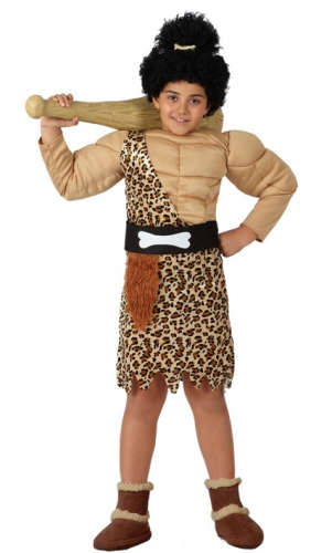 Holbewoner kostuum voor jongens. leuk oermens kostuum voor jongens met gespierd bovenlijf, luipaardenprint en ...