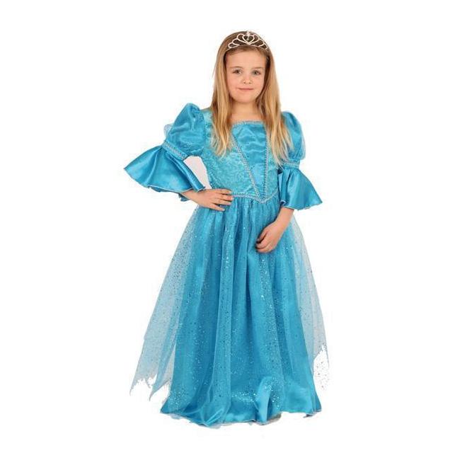 Luxe blauw prinses kostuum voor meisjes. lange blauwe sprookjes prinsessen jurk voor meisjes met pofmouwtjes....