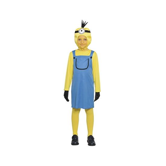 Mini meisje kostuum. een grappig kostuum van een geel poppetje. dit kostuum is inclusief: jurk, shirt, muts ...