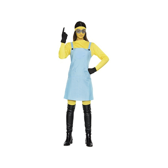 Mini dames kostuum. een grappig kostuum van een geel poppetje. dit kostuum bestaat uit de jumpsuit, shirt, ...