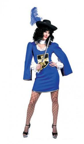 Musketier jurkje voor dames. blauw en zilver musketier jurkje voor dames. met wijde mouwen en een kruis op de ...