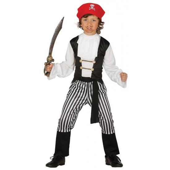 Piraten verkleedpak voor jongens. dit piraten pak bestaat uit: een gestreepte piratenbroek, shirt, riem en ...