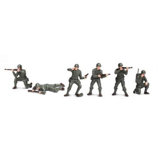 Plastic speelgoed soldaten 6 stuks van kantoor artikelen tip.