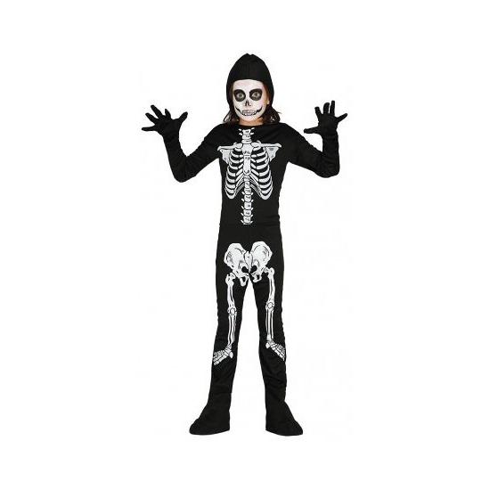 Skelet jumpsuit voor kinderen. zwart met wit skelet kostuum voor kinderen. deze jumpsuit is inclusief losse ...