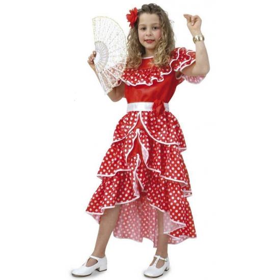 Spaanse jurk voor meisjes. rode jurk met witte stippen bestaande uit de jurk en de riem. exclusief ...