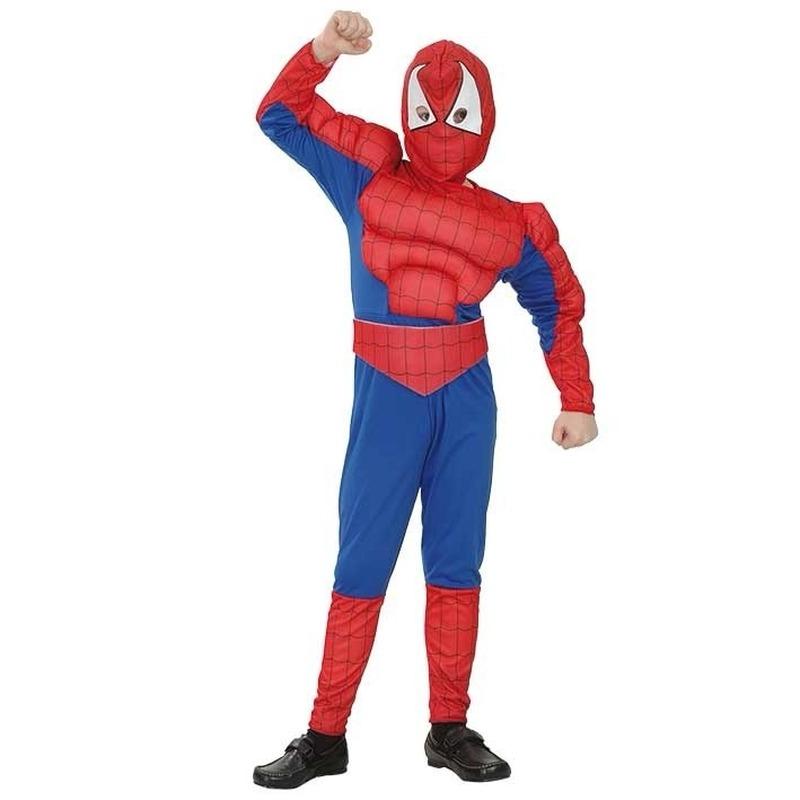 Spinnenheld kostuum voor jongens. stripfiguur spinnenheld kostuum met een gespierd bovenlichaam. het kostuum ...