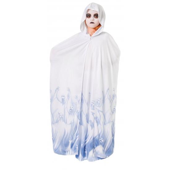 Spoken pakje voor meiden. een blauw met wit meisjes spoken kostuum met aangehechte cape en een capuchon....