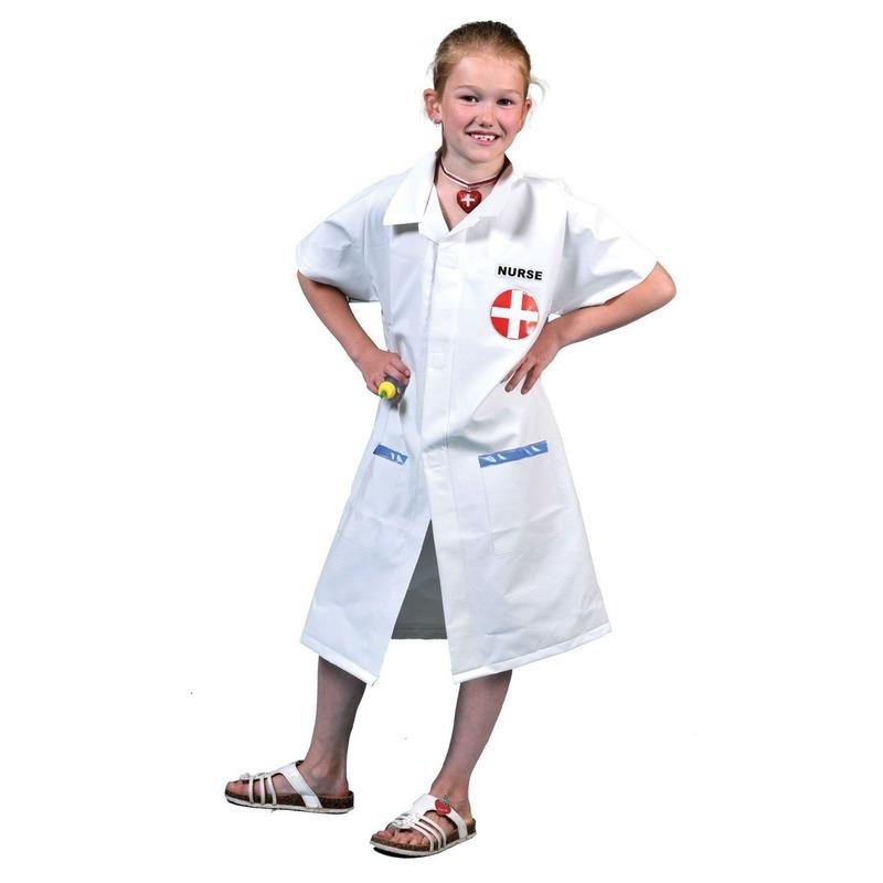 Zuster jas met prik voor kinderen. witte zustersjas voor kinderen met rood kruis op de borst, inclusief prik. ...